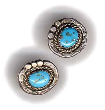 Turquoise earrings from Mexico