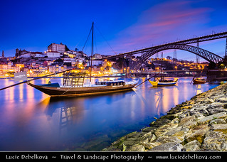 Portugal - North Region - Porto & Dom Luís I (Luiz I) Bridge at Dawn - Twilight - Sunrise
