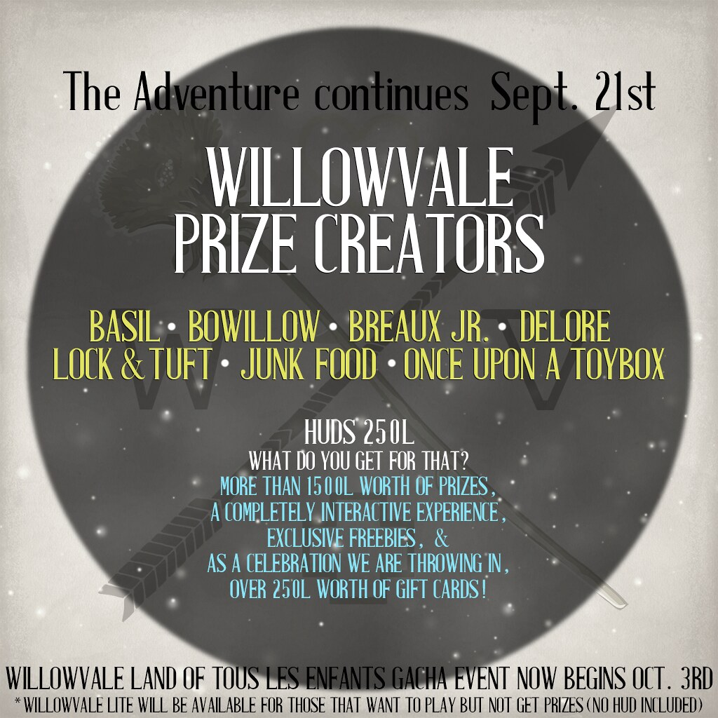 WillowVale Prize Creators Sept 2017
