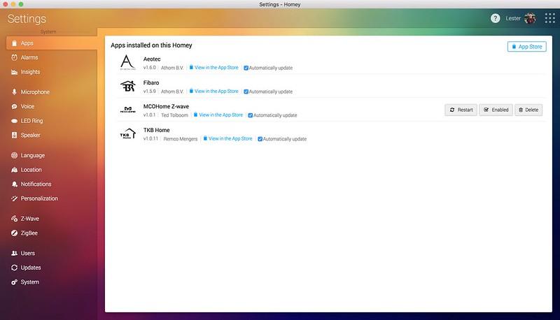 Homey Desktop App - Settings - Apps