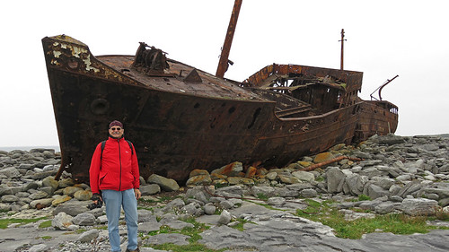 Rusty shipwreck on the Aran Island of Inisheer in Ireland