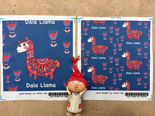 """Dala Llama"", large and small scale 8x8 inch fabric test swatches printed on basic cotton ultra. My original design created digitally."