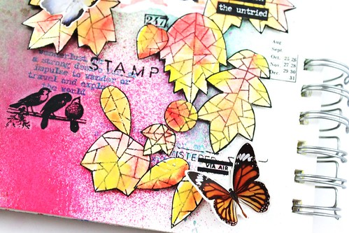 Meihsia Liu Simply Paper Crafts Art Journal Create Simon Says Stamp Leaves Tim Holtz 4