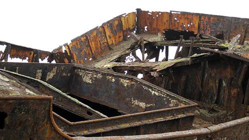 Rusty shipwreck on the Aran Island of Inisheer in Ireland