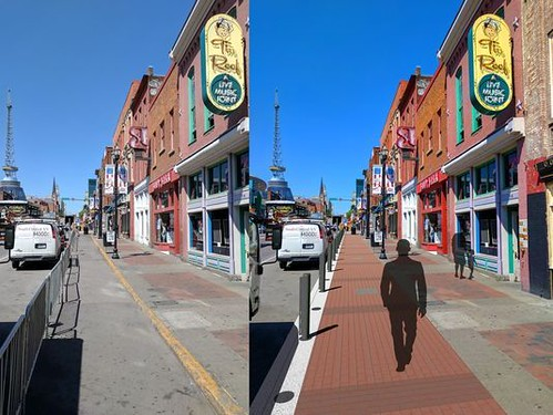 Before and after visualization of streetscape improvements to Lower Broadway, Nashville