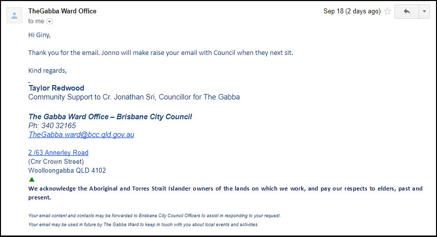 Response from Brisbane Councillor Jonathan Sri 091817