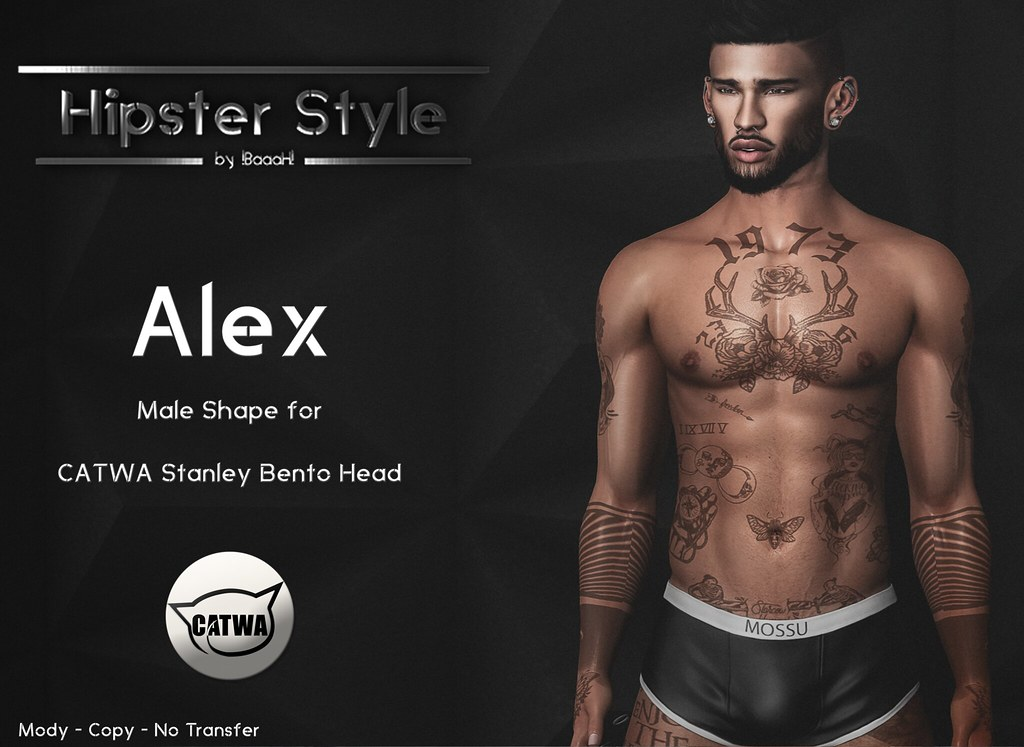[Hipster Style] Alex Male Shape for CATWA Stanley Bento Head - SecondLifeHub.com