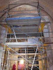 St Meard under scaffolding