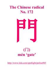 No. 172 門  (门)  mén 'gate'