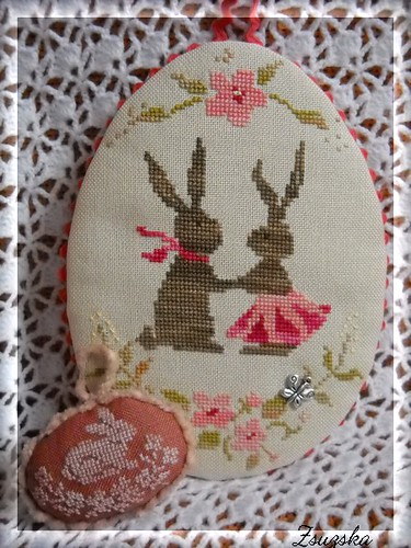 easter, cross stitch, bunnies,