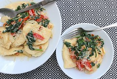CHEESE AND POTATO VARENIKI, WITH SPINACH, BACON AND TOMATO