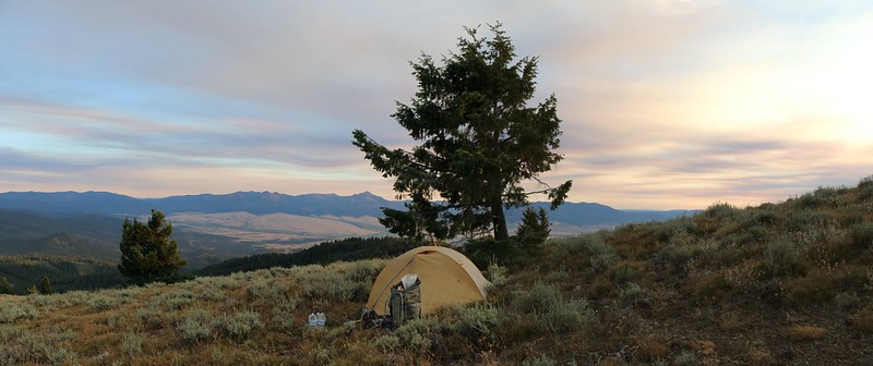 Panorama shot of our tent and campsite on Dixie Butte looking south over Prairie City