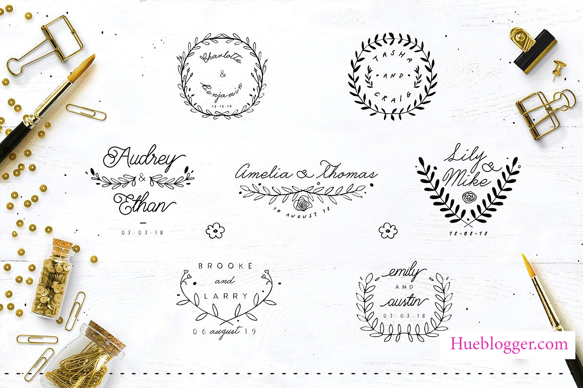30 vector thiết kế logo đám cưới nhẹ nhàng