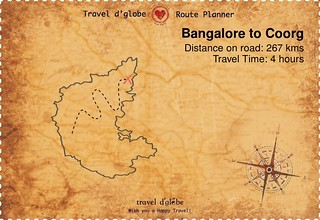 Map from Bangalore to Coorg