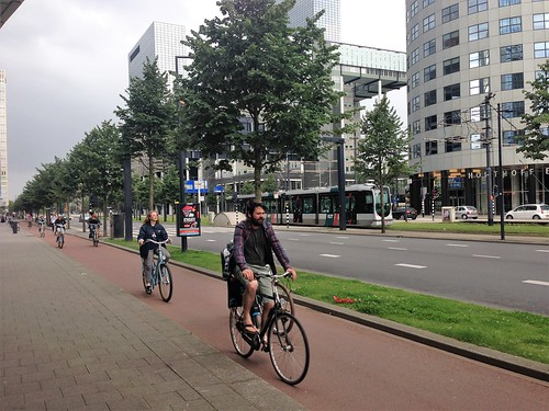 Bicycles and tram in central Rotterdam