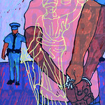 Tony Ortega; A New Racial Profile; Monotype, silkscreen over poster; 2003; Represented by William Havu Gallery -