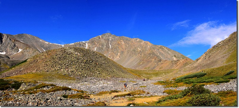 Cross this flat, rocky area near 12,300' as you hike west toward Torreys Peak 1