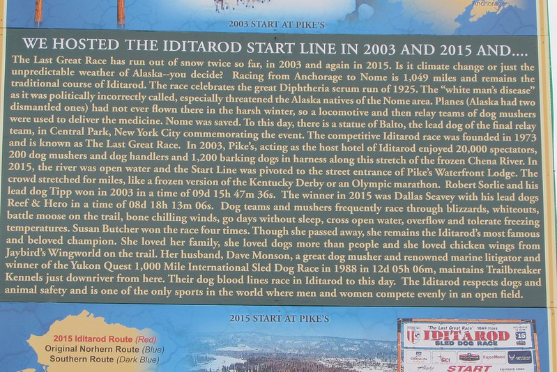 And we also came across the site where the Iditarod race started twice since the turn of the century as you can see from the infoboard