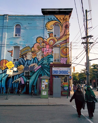 Mural, Cabbagetown Corner Convenience #toronto #cabbagetown #parliamentstreet #cornerstore #mural #publicart #wires