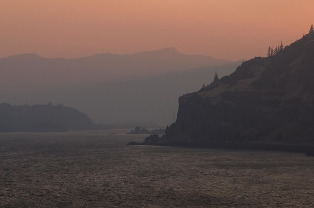 Smoky Sunset at Mosier Gap, Columbia Gorge