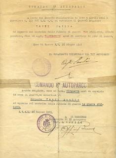 Italian World War I Service Medal certificate2