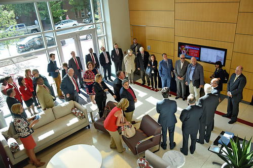 Members of the Board of Governors tour the Nonwovens Institute.