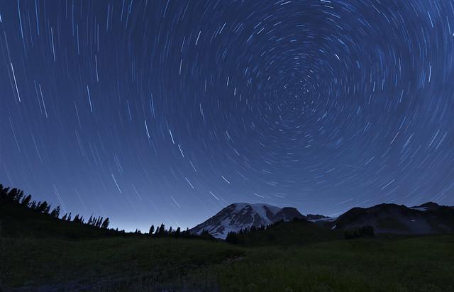 Star Trails over Mt Rainier (Paradise, Mt Rainier NP, WA)
