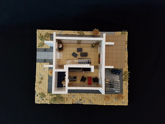 Whitebrick Sand House MOC kitchen lounge from top