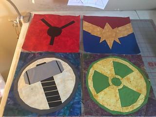 Superheroes: Antman, Captain Marvel, Thor, Hulk