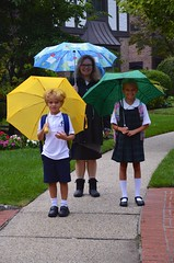 On The Way To The Drizzly First Day Of School