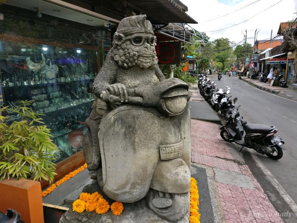 motorbiking monkey statue ubud