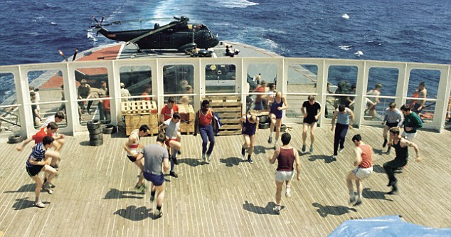 Aft decks of QE2 with one of the helicopter landing platforms installed for the Falklands War. Somewhere in the South Atlantic, late May 1982.