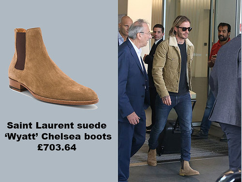 Saint-Laurent-suede-'Wyatt'-Chelsea-boots-with-camel-shearling-cord-jacket