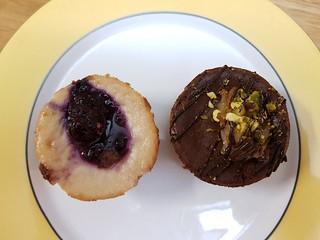 Vanilla Berry and Chocolate Pistachio Pear Cheesecakes from Koko Cakes at Brisbane Vegan Twilight Markets