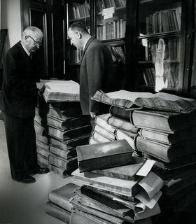 General Post Office: Old records before being despatched to Government Archives (1961)