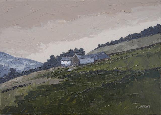 Hillside Farm, Woodhead - Painting by Steve Greaves