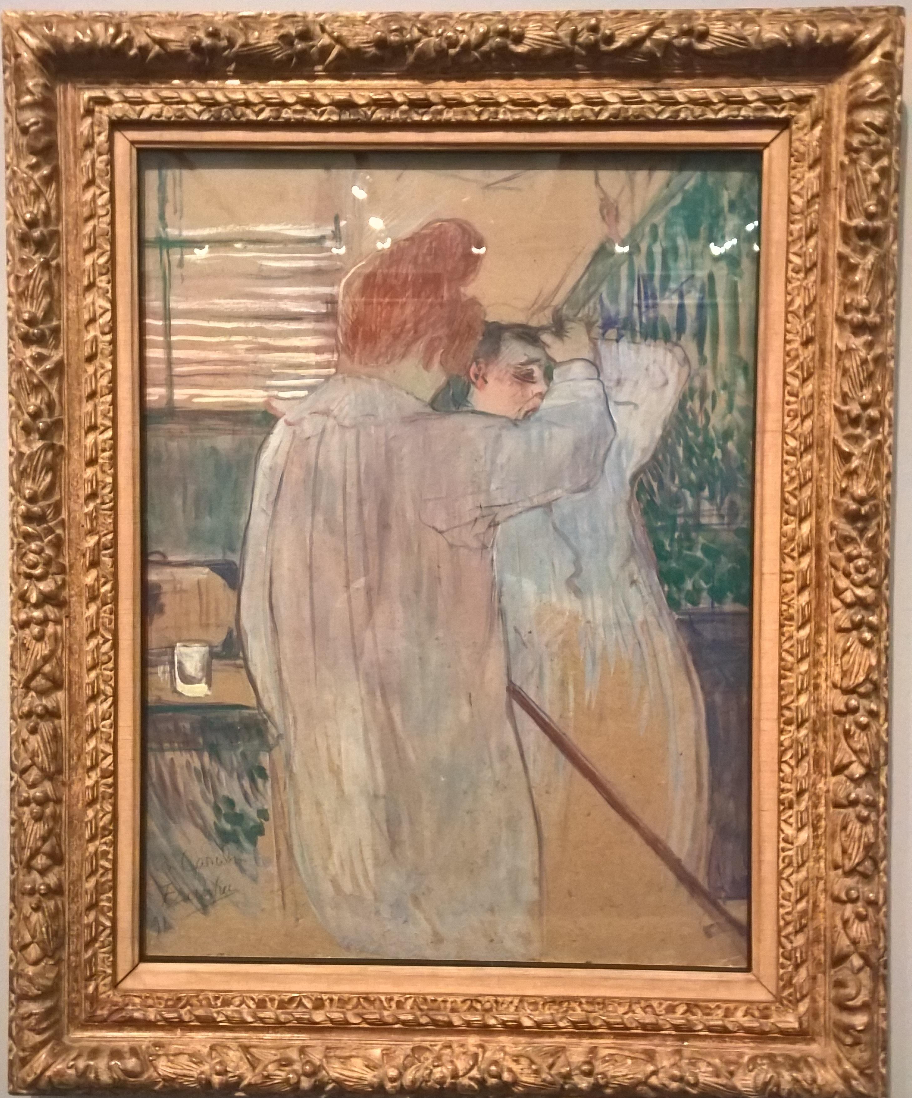 1891_Mulher se penteando em camisola _ óleo sobre cartão