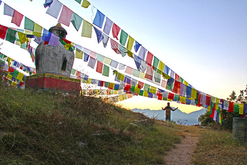 prayer flags kanyingshedrublingmonastery gratitude pharping nepal morning sunrise buddhism buddhist retreat meditation monastery mountain offerings