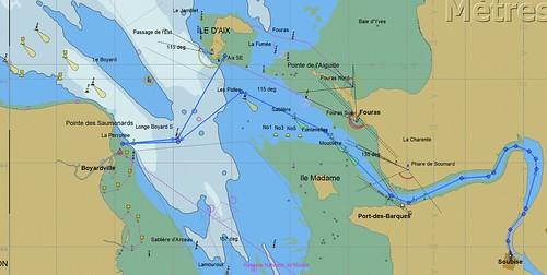 Carte de la 1ere journée de navigation