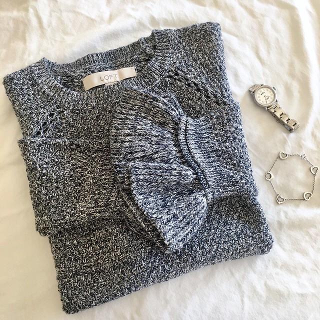 LOFT Marled Ruffle Cuff Sweater, size XS regular