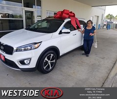Congratulations Sylvia on your #Kia #Sorento from Antonio Page at Westside Kia!