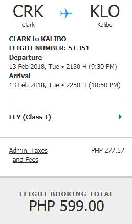 Clark to Kalibo Cebu Pacific Air Promo February 13, 2018