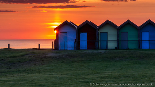 beach beachhuts blyth clouds northumberland orange pink sea sky sun sunrise
