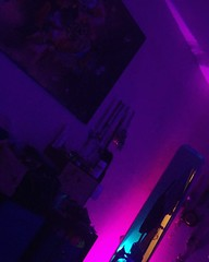 Brief St. Louis photo break to remind you how awesome my room is. Cyberpunk AF. . . . . #cyberpunk #vaporwave #ledlights #aesthetic #cypherpunk #hurricanepartyofone