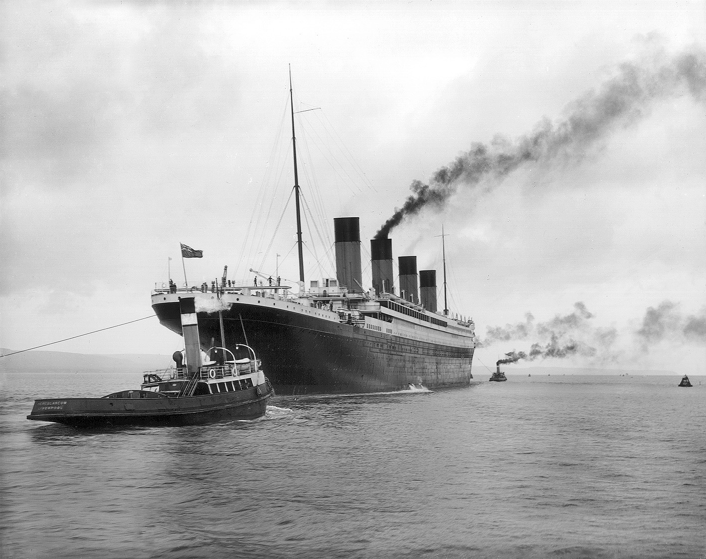 Titanic leaving Belfast for her sea trials, April 2, 1912
