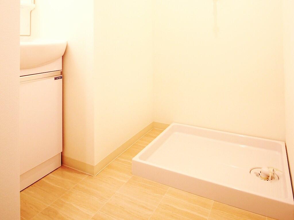 リノベーション後・洗面スペースと洗濯機置場