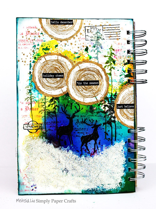 Meihsia Liu Simply Paper Crafts Mixed Media Art Journal Winter Scene Tim Hotz Simon Says Stamp 1
