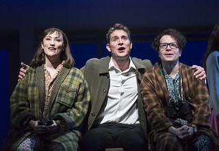 Eden Espinosa, Mark Umbers, and Damian Humbley in Merrily We Roll Along
