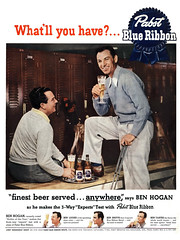 Golfer Ben Hogan for Pabst Blue Ribbon beer, 1951 ad