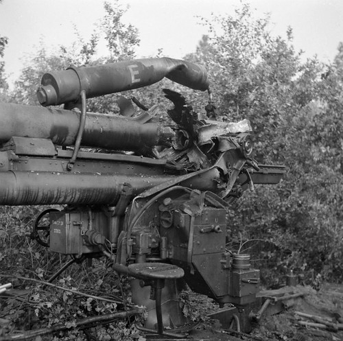 German 88 mm gun FlaK 36 in a wood near the Dutch town of Aalst
